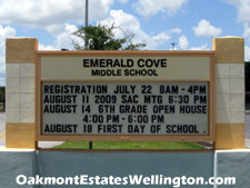 The highly-rated Emerald Cove middle school in Wellington, FL is just a short drive from Oakmont Estates across US-441.