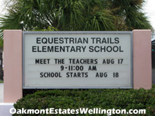 Wellington's well-regarded Equestrian Trails elementary school is on Stribling Way (the road Oakmont Estates fronts onto) just across US-441. Dropping the kids off at school could not be easier.